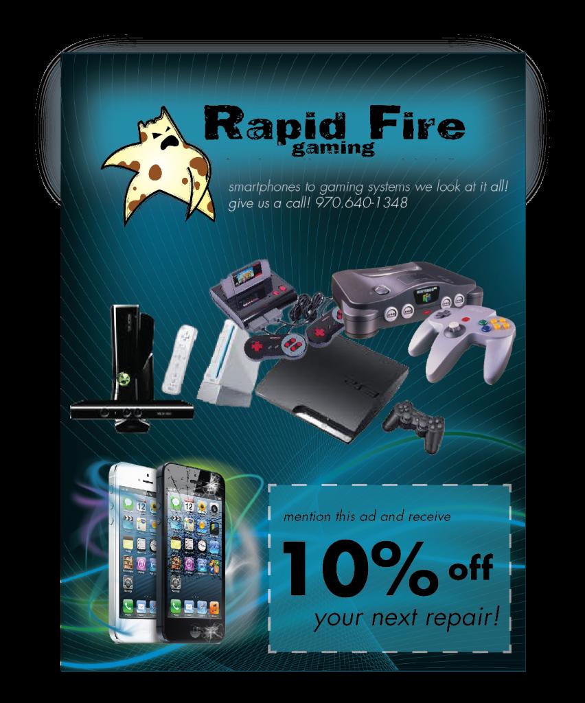 Rapid Fire Gaming, Rapid Fire Gaming Video game system repair, iphone repair, ipad repair, grand Junction iphone repair